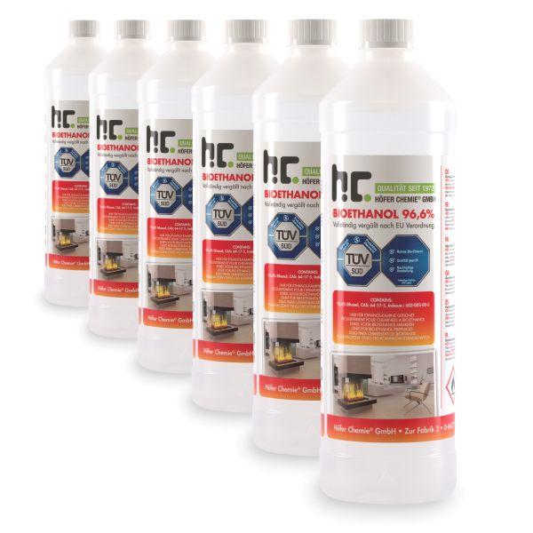 6 x 1 L Bioethanol 96,6% Höfer Chemie Flasche für Tischfeuer, Ethanolkamin